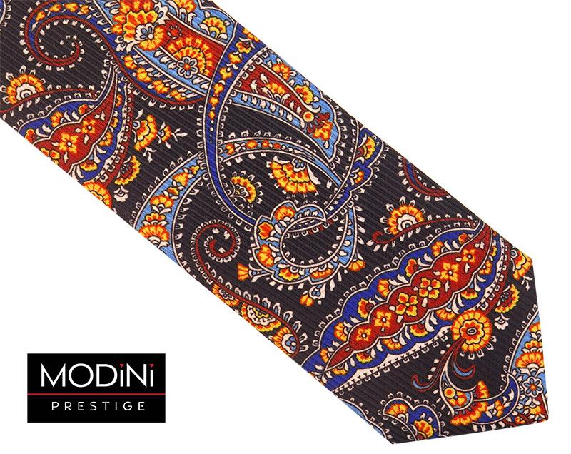 Czarny krawat wzór paisley