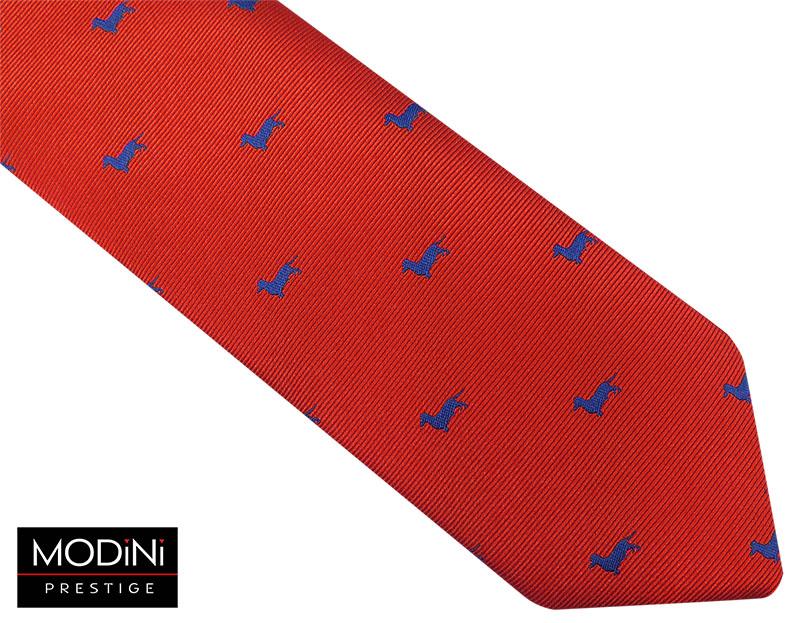 Czerwony krawat męski w granatowe jamniki D54