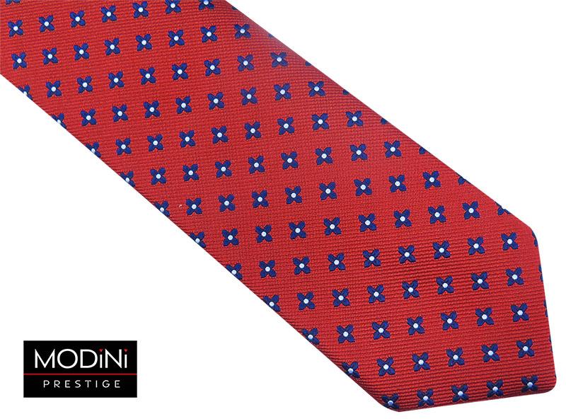 Czerwony krawat w granatowe kwiatki D73