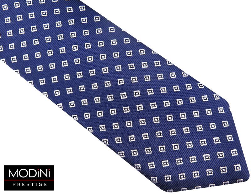 Granatowy krawat w białe kwadraty D78