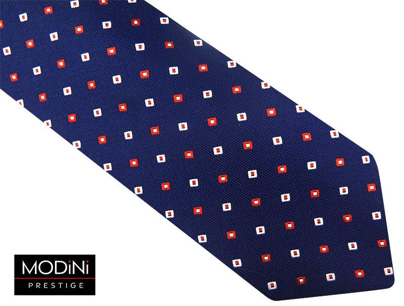 Granatowy krawat w biało-czerwone kwadraty D80