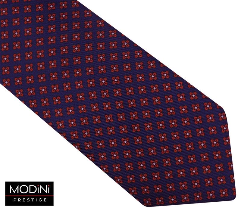 Granatowy krawat męski w czerwone kwiatki D107