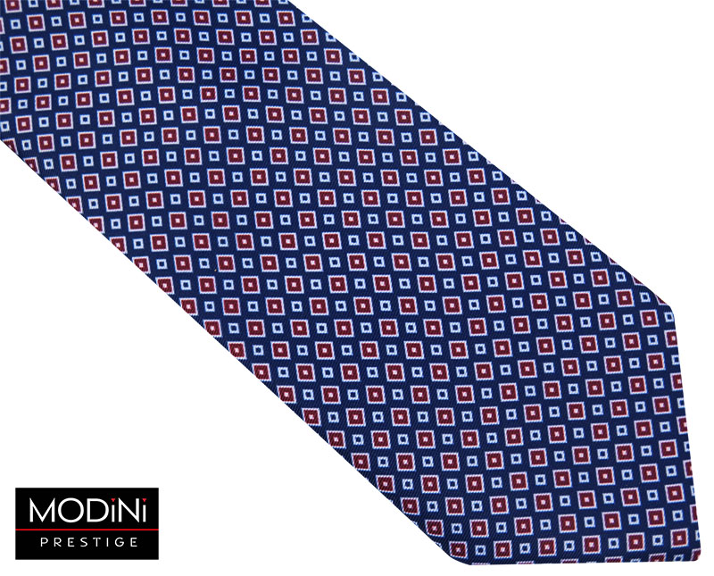 Granatowy krawat męski w czerwone romby D104