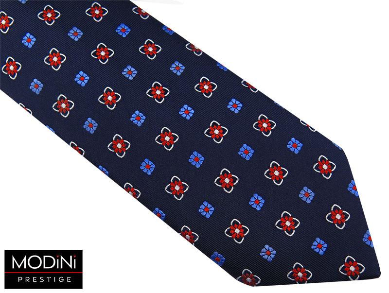 Granatowy krawat w białe i niebieskie kwiatki D44