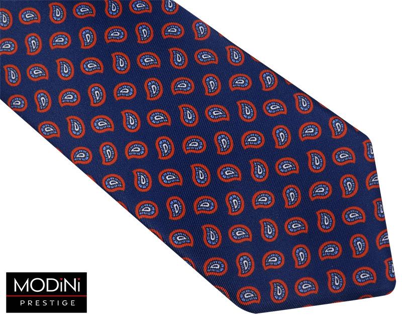 Granatowy krawat męski w czerwony paisley D108