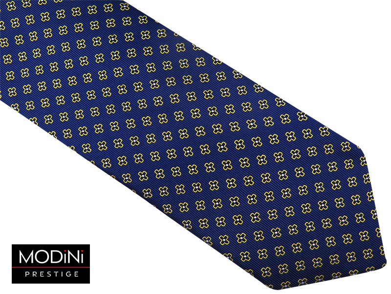 Granatowy krawat męski w kwiaty D75