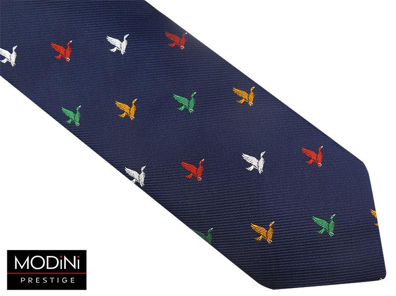 Granatowy krawat męski w kolorowe ptaki D82