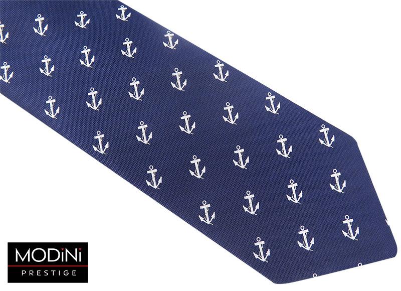 Granatowy krawat w kotwice D64