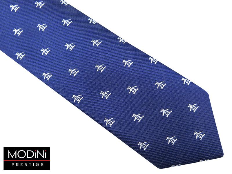 Granatowy krawat męski w białe pingwiny D53