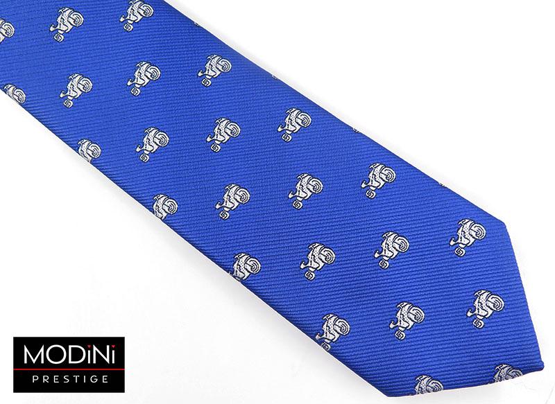 Niebieski krawat męski - motocykle D63