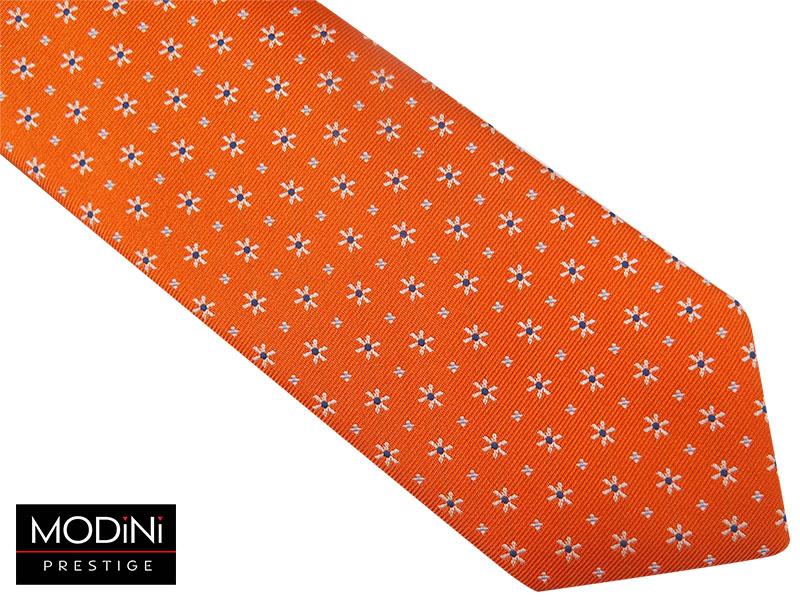 Pomarańczowy krawat męski w kwiaty D70