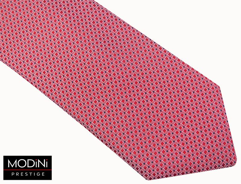 Różowy krawat męski w drobne kwadraty D40