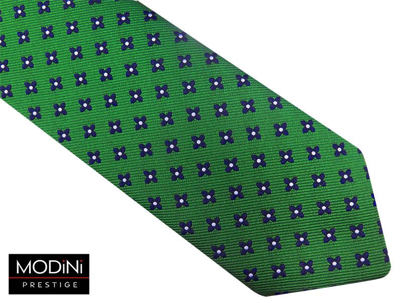 Zielony krawat męski w granatowe kwiatki D74
