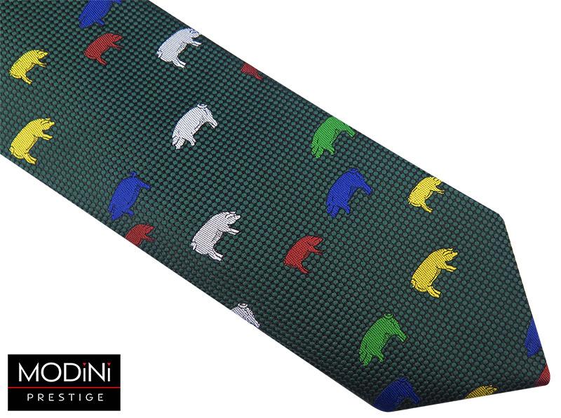 Zielony krawat męski w kolorowe świnie D55