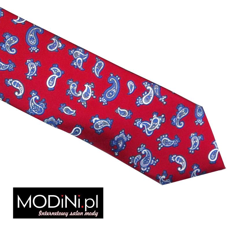 Czerwony krawat jedwabny - paisley