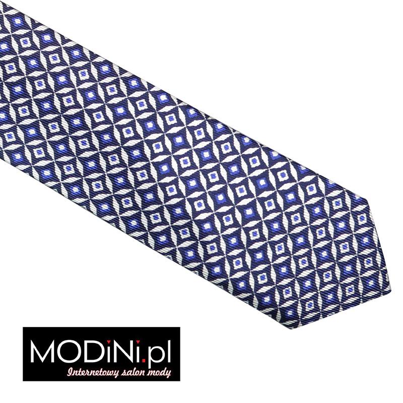 Granatowy krawat jedwabny - biały wzór