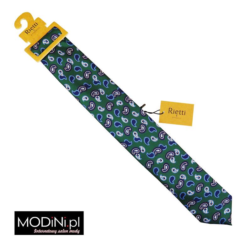 Zielony krawat jedwabny - niebieski paisley