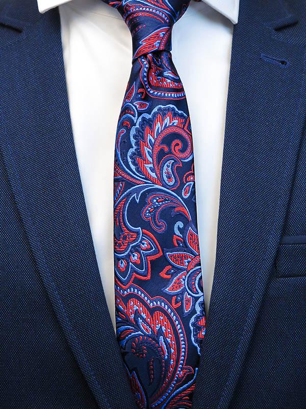 Granatowy krawat męski we florystyczny wzór C10