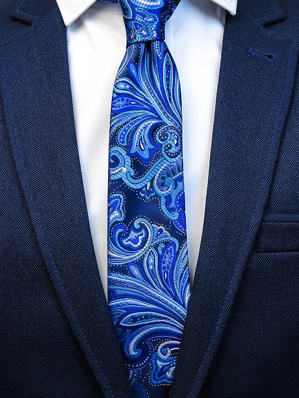 Granatowy krawat męski we florystyczny wzór C11