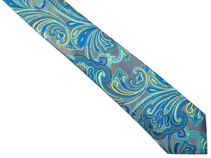 Srebrny krawat męski we florystyczny wzór C12