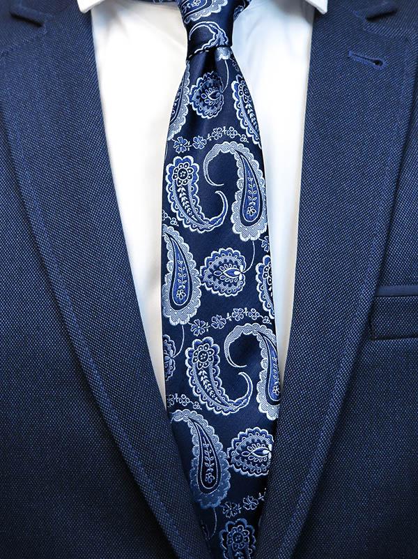 Granatowy krawat męski w niebieski paisley C15