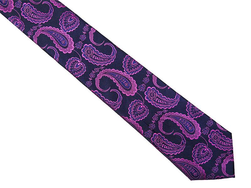 Granatowy krawat męski w różowy paisley C16