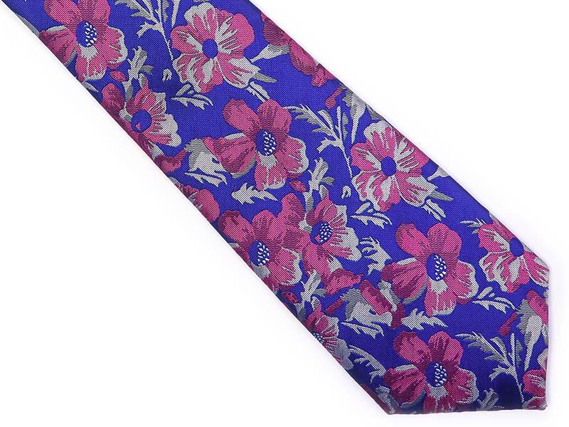 Niebieski krawat męski w różowe kwiaty C1