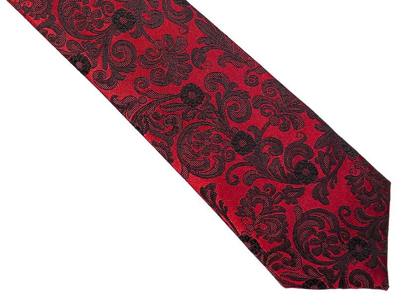 Czerwony krawat męski w kwiaty C3
