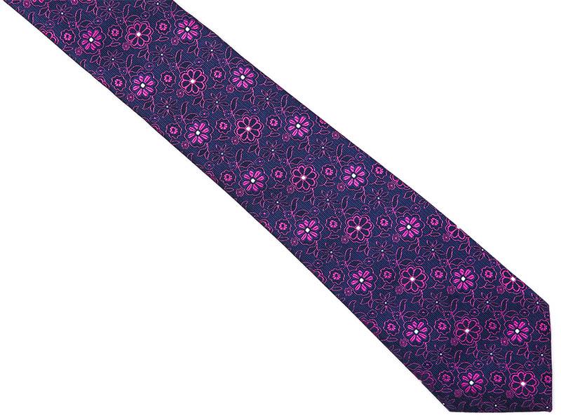 Granatowy krawat męski w różowe kwiaty C5