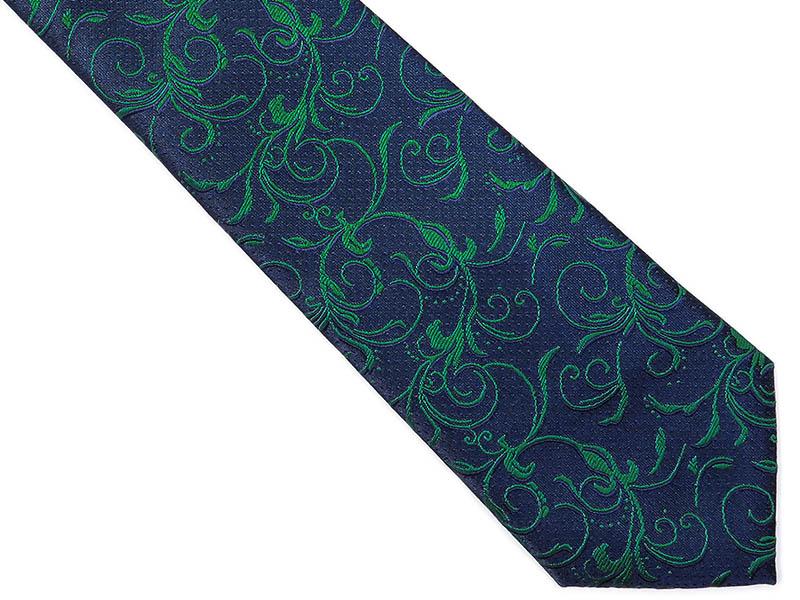 Granatowy krawat męski we florystyczny wzór C8
