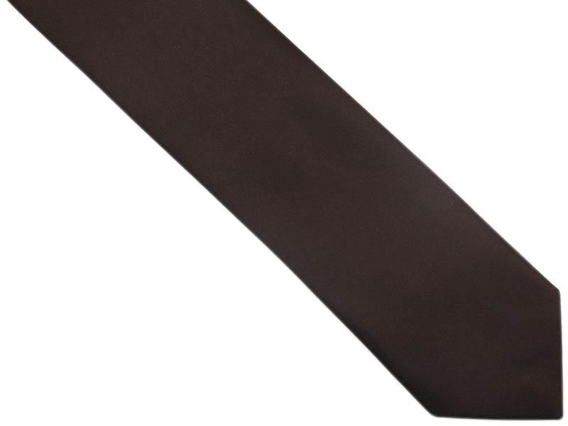 Brązowy / czekoladowy krawat męski z poszetką OZ22