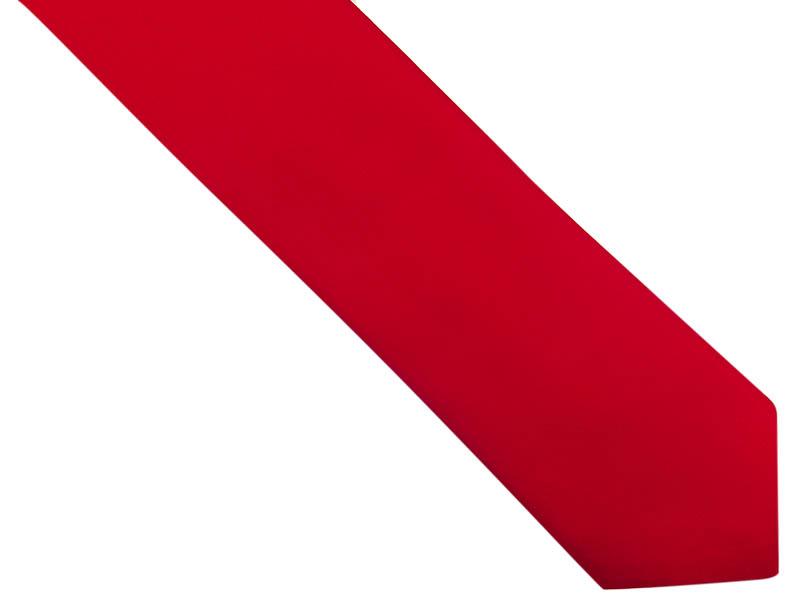 Czerwony gładki krawat z poszetką
