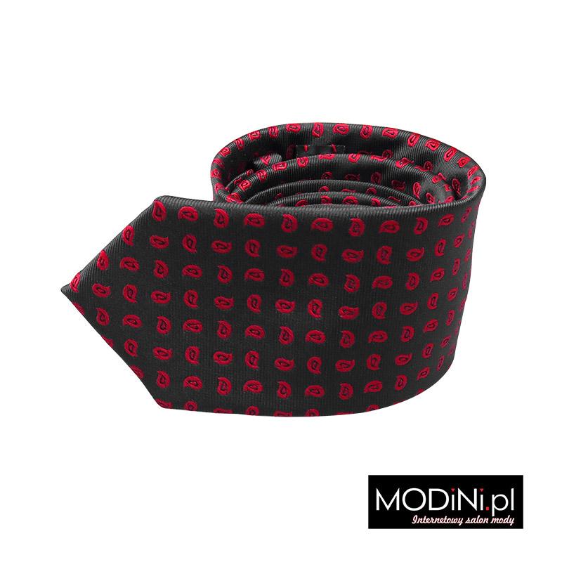 Grafitowy krawat - czerwony paisley