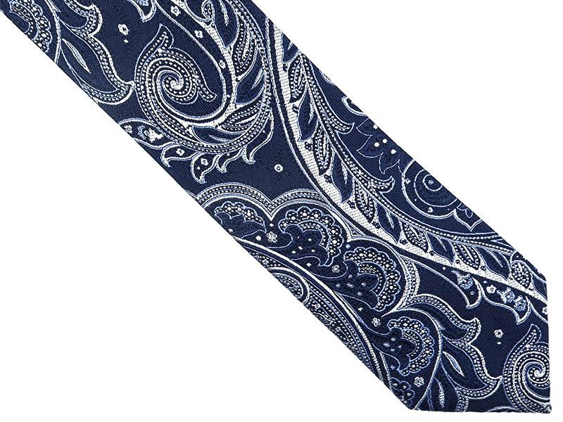 Granatowy jedwabny krawat we wzór - paisley D234