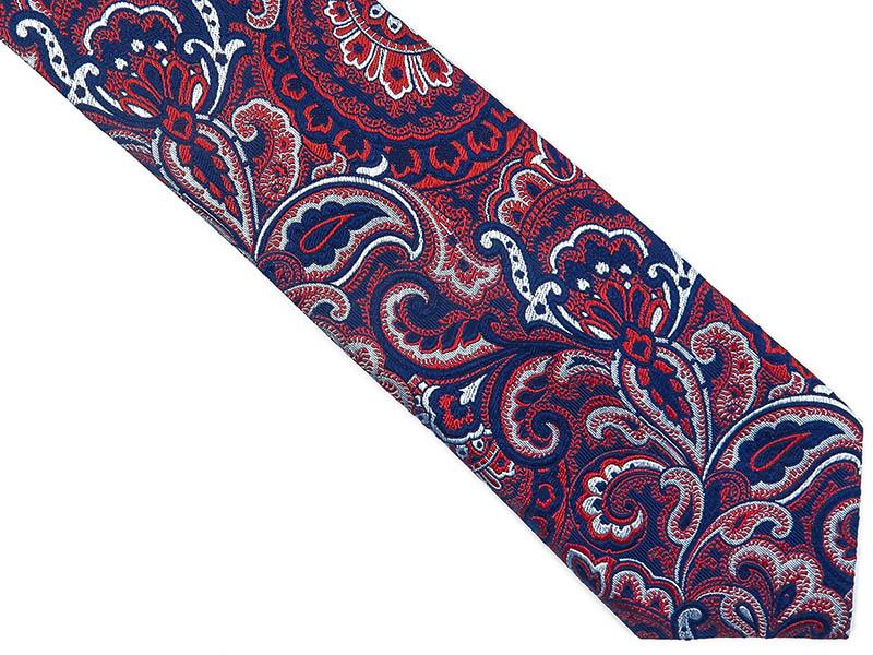 Granatowo-czerwony jedwabny krawat we wzór - paisley D236