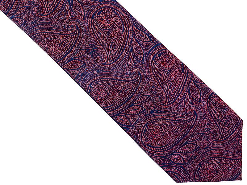 Bordowo-granatowy jedwabny krawat we wzór - paisley D238