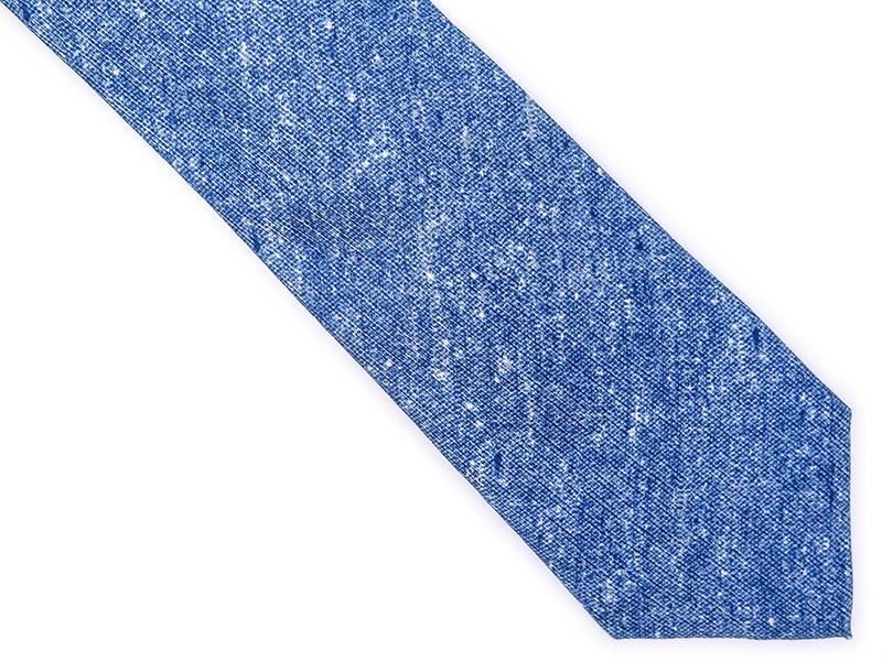 Niebieski jedwabny krawat - imitacja jeansu R10
