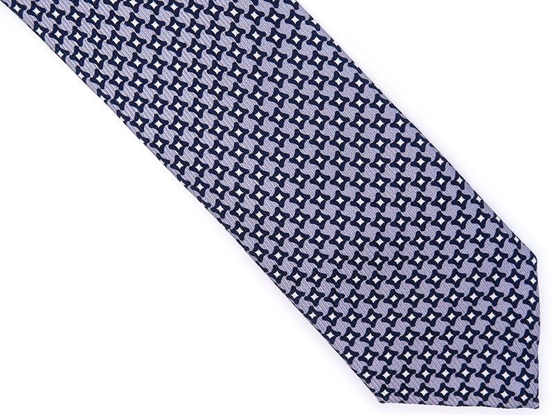 Szary jedwabny krawat w geometryczny wzór R12