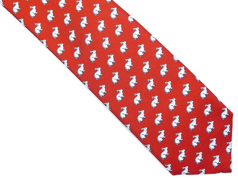 Czerwony jedwabny krawat w białe króliki R28