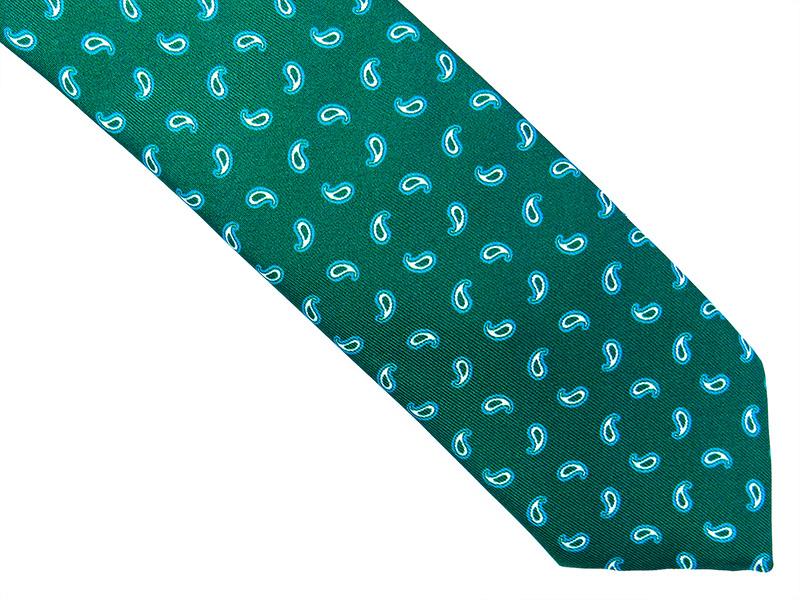 ZIelony jedwabny krawat we wzór - paisley R5