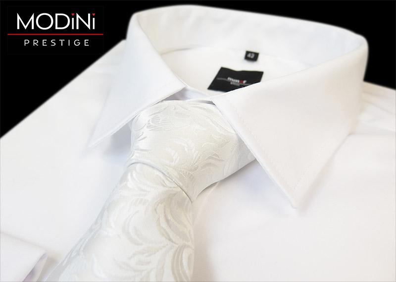 Biały krawat ślubny - motyw kwiatowy