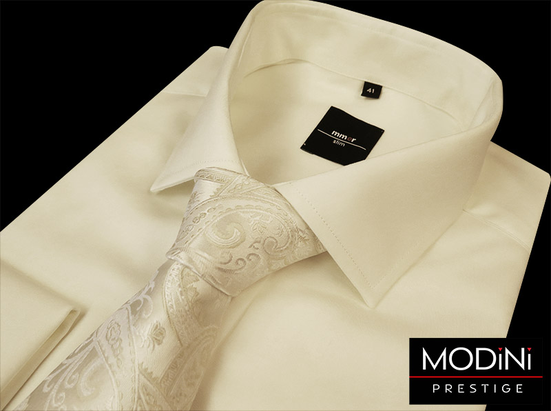 Jasny ecru / ivory krawat ślubny z motywem kwiatowym