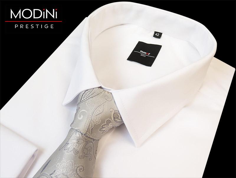 Srebrny krawat ślubny z poszetką - motyw kwiatowy