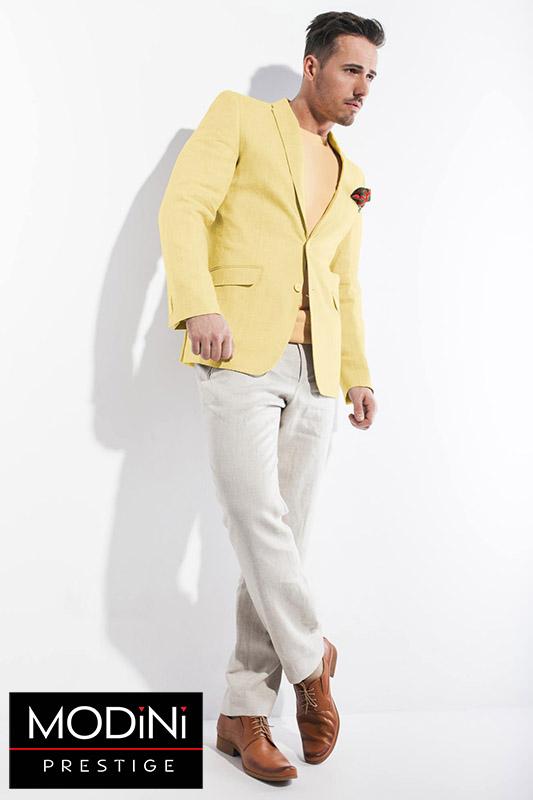 Żółta lniana marynarka męska Malibu