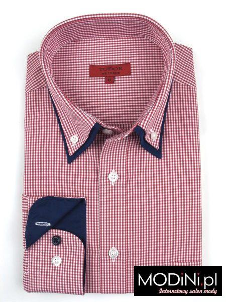 Koszula Tudor w czerwono białą kratkę