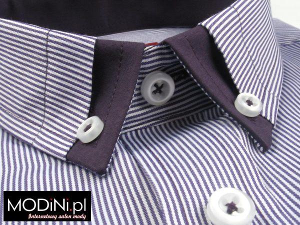 Koszula Tudor fioletowo-biały prążek. Fason slim z kontrastami