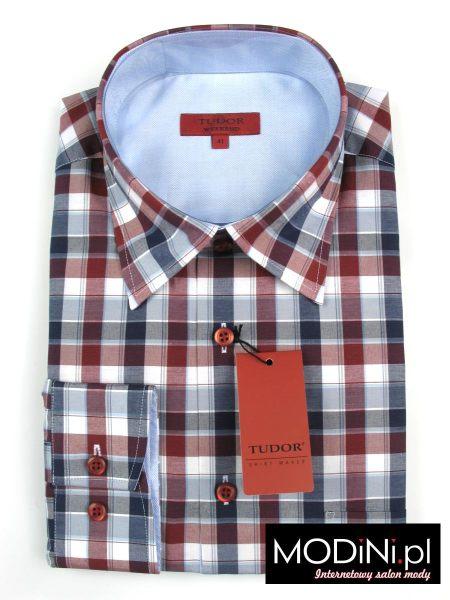 Koszula granatowo - bordowo - szara krata