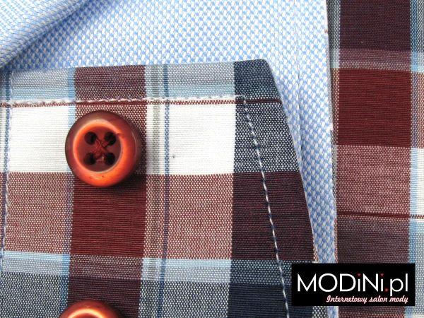 Koszula granatowo - bordowo - szara krata i błękitne kontrasty