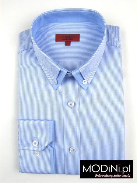 Koszula prążek błękitno biały