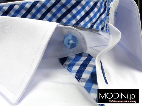 Biała koszula z kontrastami w niebiesko - granatową kratę